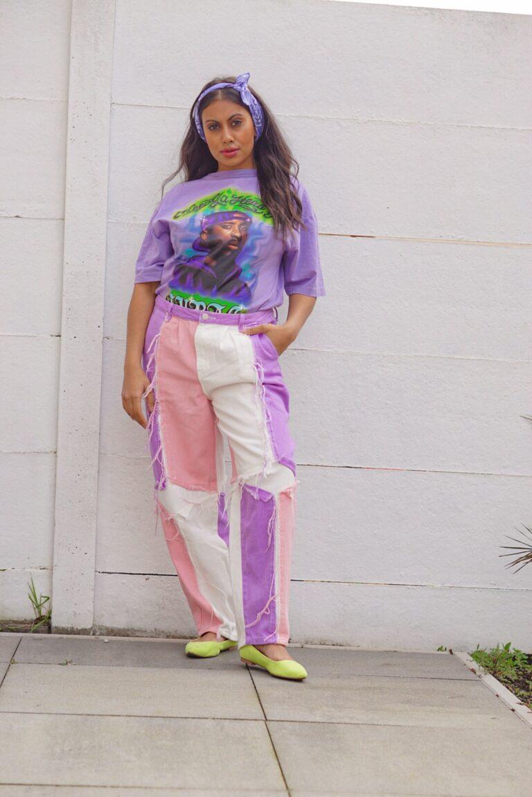 High waist colorblock jeans