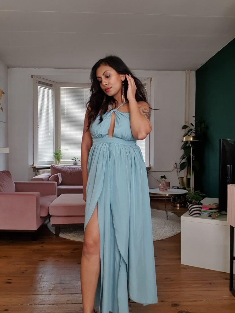 shein boho blue dress
