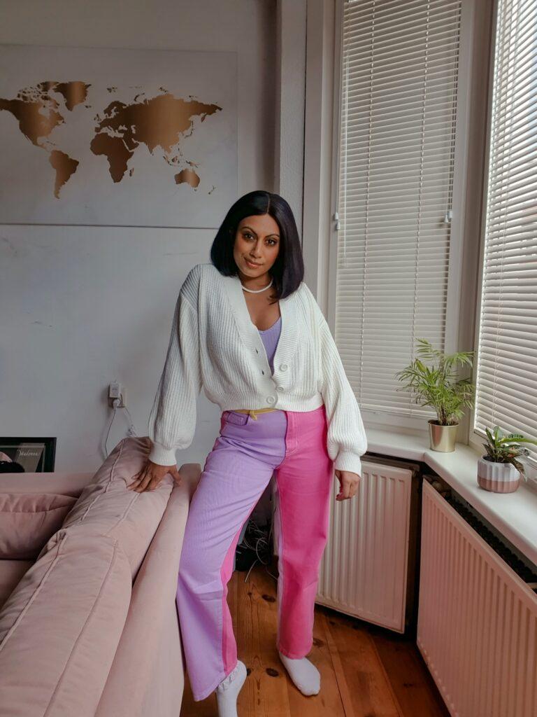 shein colorblock high waist jeans